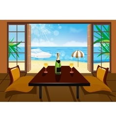 Hotel room and beach landscape vector