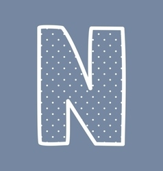 N alphabet letter with white polka dots on blue vector