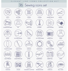 Sewing outline icon set elegant thin line vector