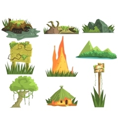 Jungle landscape elements vector