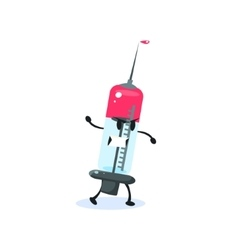 Syringe cartoon character vector