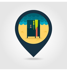 Cloakroom on the beach pin map icon Vacation vector image