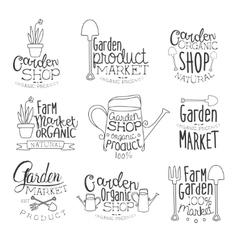 Organic Garden Hand Drawn Banner Set vector image