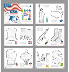 Usa coloring book patriotic book for coloring vector