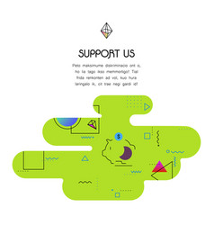Banner template with donation and support us icon vector