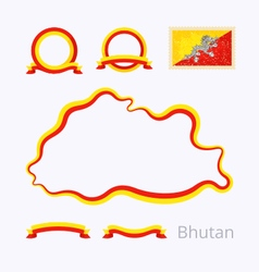Bhutan outline map and ribbons vector