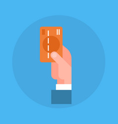 business man hand holding credit card icon vector image