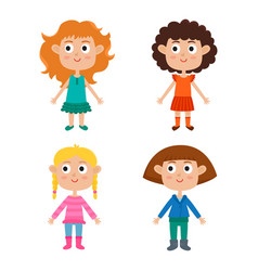 cartoon girls isolated on white characters set of vector image
