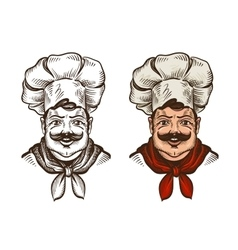Chef face caricature cartoon vector image vector image