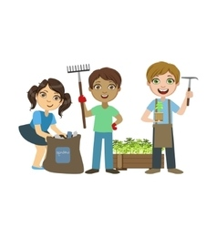 Children Gardening Together vector image