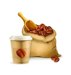 Coffee paper cup and bag vector image