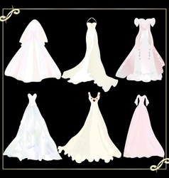 collection of wedding dresses 1 vector image