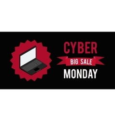 Cyber monday sale banner witn black background vector
