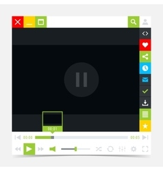 Flat media player interface with video loading bar vector