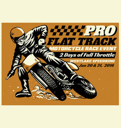 flat track motorcycle race event poster vector image vector image