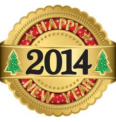 Happy new 2014 year gold label vector image vector image