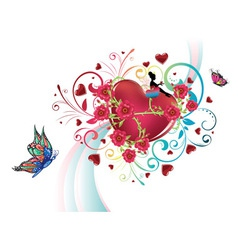 Hearts and Roses3 vector image vector image