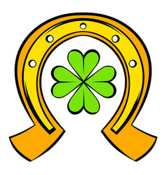 Horseshoe and four leaf clover icon icon cartoon vector