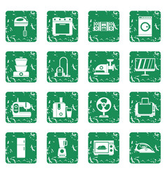 Household appliances icons set grunge vector