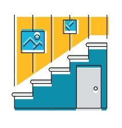 Interior hallway and stair logo or icon vector