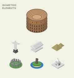 Isometric cities set of india mosque coliseum vector