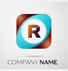 letter r logo symbol in the colorful square on vector image