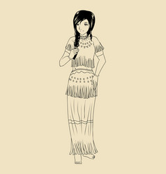 Native american traditional costume vector