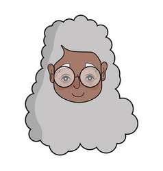 Old woman face with hairstyle and glasses vector