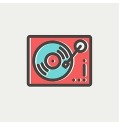 Phonograph turntable thin line icon vector image vector image