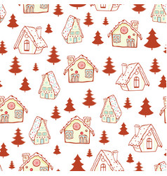 red gingerbread houses and christmas trees vector image