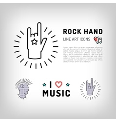 Rock hand sign punk rock music icons vector