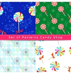 Seamless patterns with peppermint candy vector