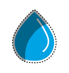 Sticker blue water drop save eco vector