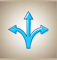 three-way direction arrow sign sky blue vector image vector image
