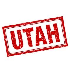 Utah red square grunge stamp on white vector