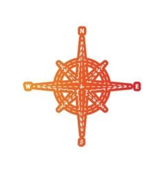 Wind rose sign orange applique isolated vector