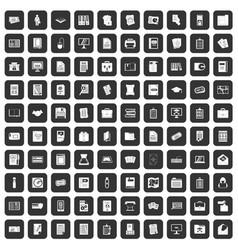 100 document icons set black vector