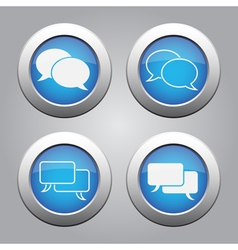Blue chrome buttons set-white speech bubbles icons vector