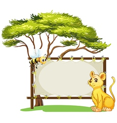 A young tiger and a bee beside an empty space vector image