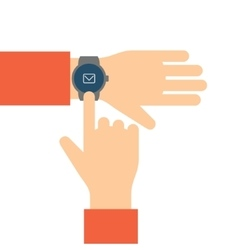 Finger touches the display smart watch vector