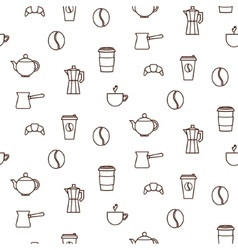 Coffee house line icons seamless pattern vector