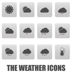 Weather icons on gray squares vector image