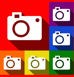 Digital camera sign  set of icons with vector