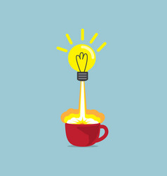 Bulb idea launch up from red coffee cup vector