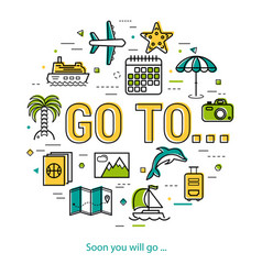 soon you will go - round line concept vector image