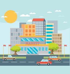 Supermarket or local store and cityscape vector