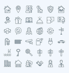 line real estate icons vector image