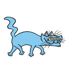 Cartoon evil cat preys vector