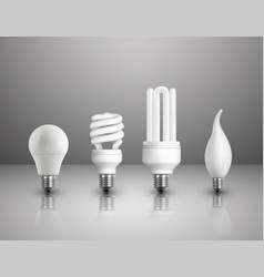 Realistic electric lightbulbs set vector