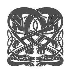 Ancient celtic mythological symbol of hounds dogs vector
